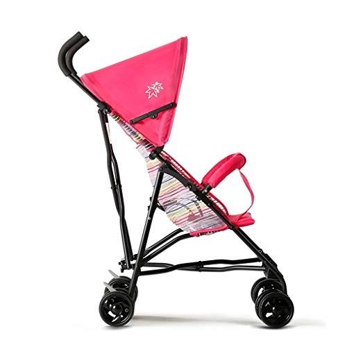 Zoe home Cochecito de bebé liviano Sombrilla de Verano Cochecito de bebé Carro de Viaje Plegable portátil con Asiento reclinable, toldo Solar, Cochecito de muñecas (Color : Pink 3)