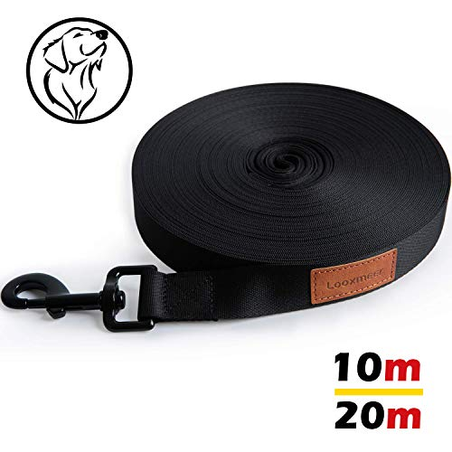 Looxmeer Schleppleine für Hunde, 10m Robuste Hundeleine Trainingsleine mit Aufbewahrungsbeutel, Handschlaufe und D-Karabiner, Schwarz