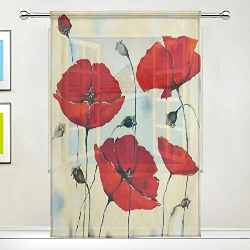 ISAOA - Tenda velata in tulle con papavero rosso, per decorare la cucina, il soggiorno, la camera da letto, pannello singolo, 150 x 200 cm