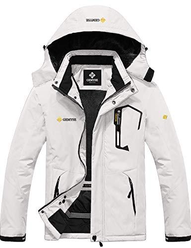 GEMYSE Men's Mountain Waterproof Ski Snow Jacket Winter Windproof Rain Jacket (White,Large)