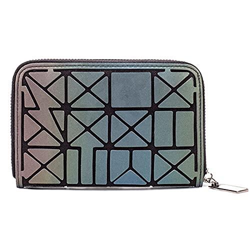 QIANJINGCQ moda todo-fósforo personalidad de un solo tirón billetera corta simple luminosa monedero rómbico bolso de mano billetera con múltiples tarjetas