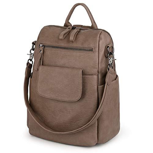 UTO Women's 3 Ways Backpack Anti Theft Travel Rucksack Ladies Handbag PU Leather Khaki