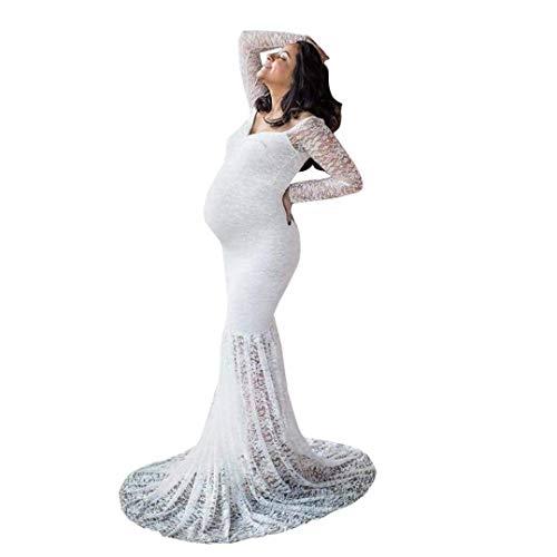 Huixin Damen Umstandskleid Festlich Mutterschaftskleid Für Fotoshootings Brautkleid Elegante Schwangerschafts Maternity Kleid Spitzenkleid Maxikleider Vintage Party (Color : Weiß, Size : M)