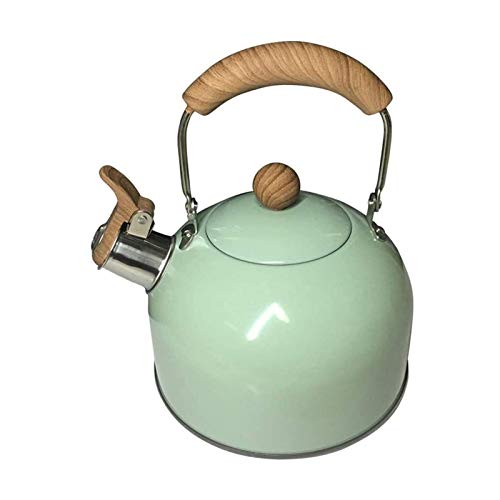 Kettle de silbato portátil Caldera de silbato de 2L 304 Hervidor de acero inoxidable con pintura verde negra Hervir rápido Inducción-Safe para gas eléctrico Botella de agua de viaje adecuada para camp