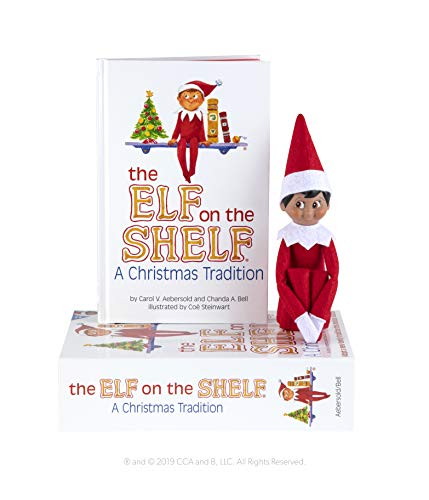 Elf on the Shelf: A Christmas Tradition | Dark Skinned Brown Eyed Boy Scout Elf Doll | Includes Keepsake Box and Children's Book | Register your Elf to download an Adoption Certificate