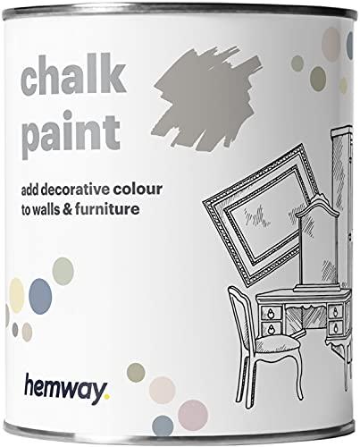 Hemway - Pintura De Tiza (36 Colores Disponibles), Acabado Mate Para Pared Y Muebles, 1 Litro, Color Gris