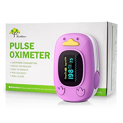 Pediatrico Misuratore Ossigeno Da Dito Applica a 1 Mese ~ 12 Anni Bambini, Misuratore Ossigeno con Funzione di Avviso Muto, Saturazione Di Ossigeno Nel Sangue e Frequenza Del Polso