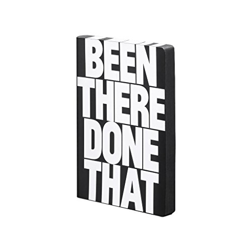 "nuuna Design Notizbuch Graphic L - \""Been There\"" - Smooth Bonded Leather, Softcover, Farbschnitt, Punktraster, 256 Seiten Premium Papier, DIN A5, schwarz"
