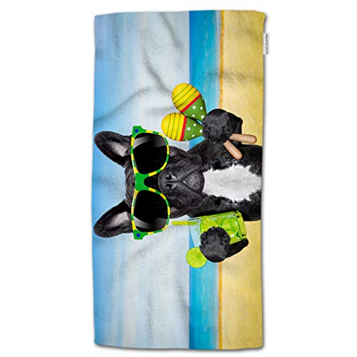 HGOD DESIGNS French Bulldog Hand Towels,Funny French Bulldog with Sunglasses and Drinking in The Sea Beach 100% Cotton Soft Bath Hand Towels for Bathroom Kitchen Hotel Spa Hand Towels 15'X30'