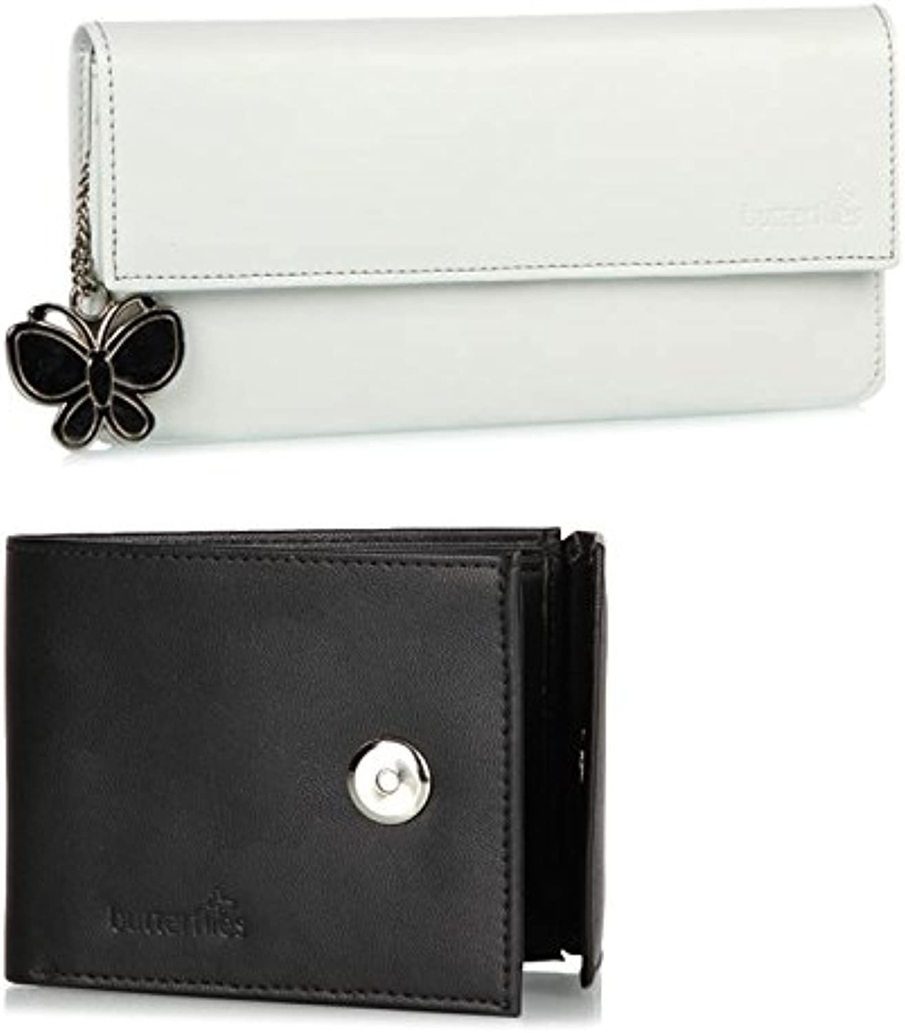Butterflies Women's Wallet (white and black) (BNS C050)