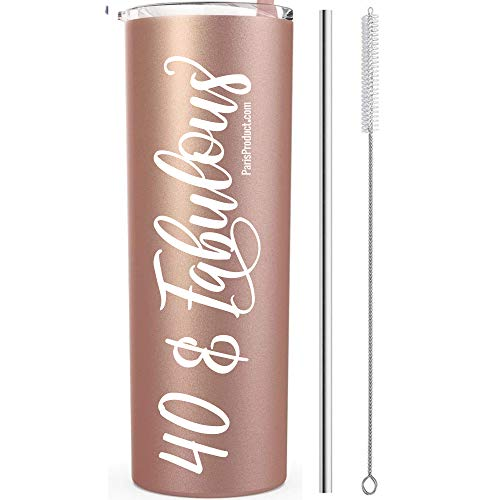 Learn More About 40 & Fabulous 20 Oz Stainless Steel Tumbler with straw | 40th Birthday Decorations For Women | 40th Birthday Gifts For Women | 40th Birthday Party Decorations| Wine Tumblers with Lid| Coffee Tumbler