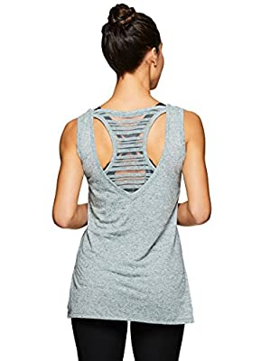 RBX Active Women's Two-fer Back Yoga Tank Top With Striped Back