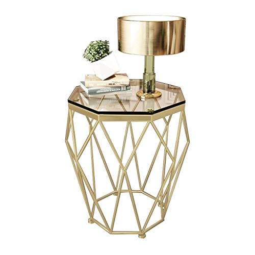 Creative moderne minimalistische salontafel Tabellen Octagon Corner Table Side Table, gehard glas metalen frame, for kleine ruimtes Modern Bedroom Night Stand Koffietafel, Diameter 47cm x hoogte 56cm