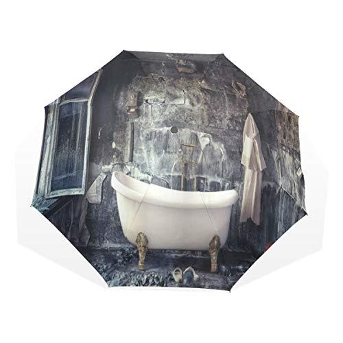 LASINSU Paraguas Resistente a la Intemperie,protección UV,Bañera Antigua en la habitación Vieja Baño Florero de Flores Frescas Florero Estilo Victoriano Retro