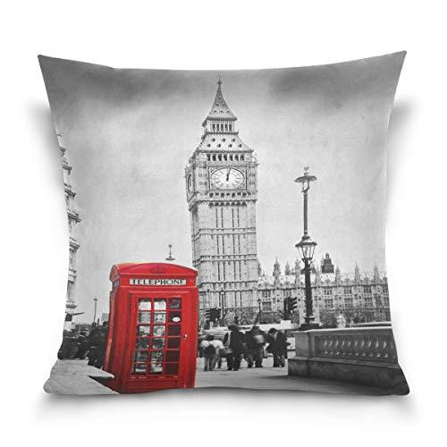 Use7 Funda de cojín decorativa cuadrada con diseño de cabina telefónica roja Big Ben en Londres, Inglaterra, sofá cama, funda de almohada (50 x 50 cm), doble cara