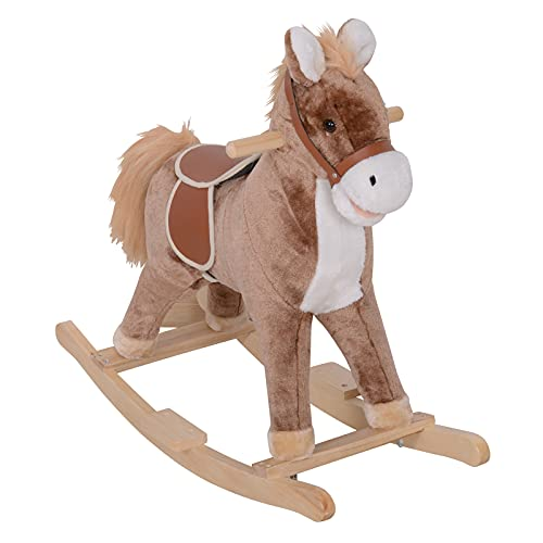 HOMCOM Kids Children Plush Rocking Horse Wooden Base Ride On Toy Rocker with Handle Grip Traditional Toy Fun Gift for Age 3+ (Brown & White)