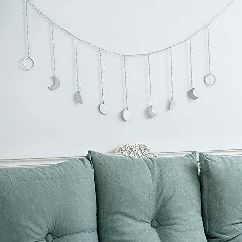 Zunbo 1× Wandbehang Deko Kette mit Mondphasen Formen Girlande Abgehängt Boho Wandbehang Künstlerische Deko zur Hochzeit,Party,Wohnzimmer (Silber)