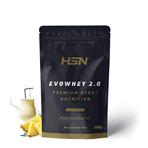 Whey Protein Concentrate de HSN | Concentrado de Proteína de Suero Evowhey Protein 2.0 | Batido de Proteínas en Polvo, Vegetariano, Sin Gluten, Sin Soja, Sabor Piña Colada, 500gr