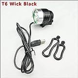 Bicicleta Luces Set 1800 lúmenes T6 L2 pesca bicicleta de la linterna LED resistente al agua USB Brillo 5V2A interfaz lámpara de la linterna-Golden_L2 (Color : BLACK T6)