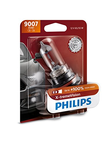 Philips 9007 X-tremeVision Upgrade Headlight Bulb with up to 100% More Vision, 1 Pack