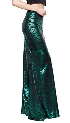 Jescakoo Ladies Sexy Prom Party Shiny Mermaid Costume Slim Fit Pleated Maxi Long Skirt L