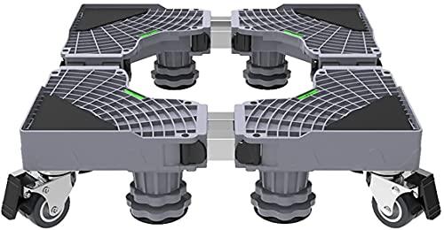 Ghongrm Base de Rodillos Ajustables móviles Multifuncional 4/8 Patas 4 Ruedas Lavadora Soporte Pedestal Longitud/Ancho 45-66CM Secadora de Tijera Trolley Enfriador de Vino Altura de la Base 10-12 cm