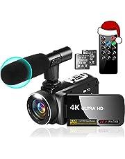 ビデオカメラ 4K YouTubeカメラ ビデオブログカメラ 2880X2160P 30MP 18Xデジタルズーム 3インチIPSスクリーン 270度回転可能 マイク+リモコン+2個バッテリー カムコーダー