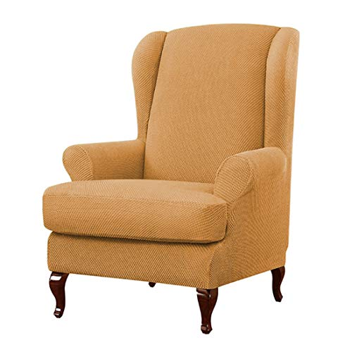 Jiyaru 2-Pieces Ohrensessel-Schonbezüge Sesselbezug Überzug Bezug Sesselhusse Elastisch Stretch Sessel-Überwürfe Einfarbig Ohrensessel Gelb