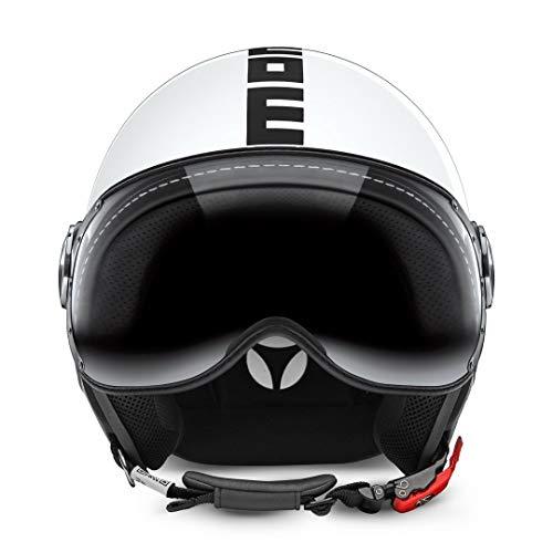 MOMO Design Demi-Jet Helm Fighter Classic, glänzend weiß/schwarz, Größe M