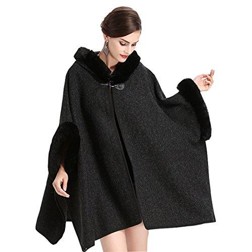Cool&D Damen Poncho Cape Winter Umhang Tweed Jacken mit Kunstfell Kragen Kunstpelz Stolen