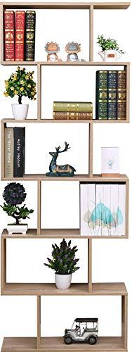 ETNIC ART - Libreria Scaffale Mobile Ufficio Moderna Contemporanea Bifacciale Divisorio Legno PortaCD scaffale Moderna Rovere Casa a Giorno - 70 X 23.5 X 190cm Mensole