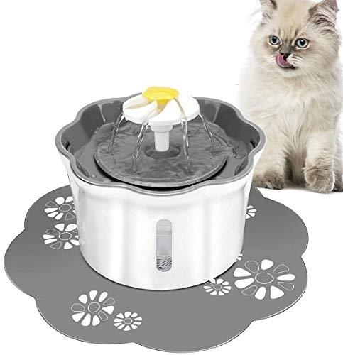 Powcan Katzen Trinkbrunnen Wasserspender für Katzen mit Wasserstand Fenster, Katzen-Blumen-Art-Wasserschüssel mit 1 Silikonmatte, Trinkbrunnen für Haustiere mit LED-Licht und 3 Wassersprühmodus 2,6L
