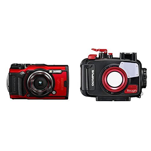 Olympus Tough TG-6 Cámara De Acción, 12 Megapíxeles, Estabilización De Imagen Digital, 4X Zoom De Gran Angular, Vídeo 4K, 120Fps, Wi-Fi, Rojo + Pt-059 Carcasa Sumergible para Cámara Digital TG-6