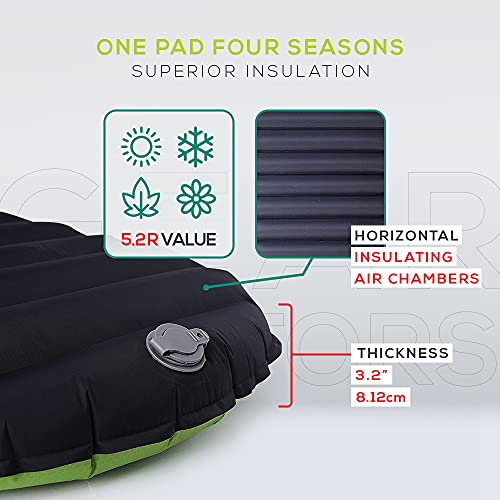 Ultralight 17oz Camping Sleeping pad- Gear Doctors ApolloAir - Compact , Warm 5.2 R-Value 4 Season Air Mattress , Perfect for Backpacking , Hiking - Lightweight Inflatable & Compact Sleep Pad