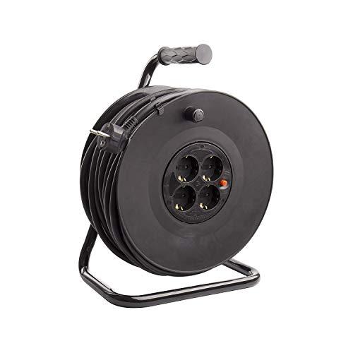 LEDKIA LIGHTING Carrete Alargador de Cable 40m 3x1.5mm Negro