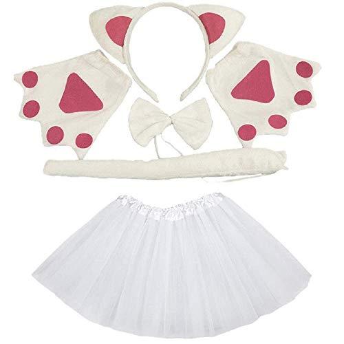 Lote Disfraz de Gato Blanco - para nias - tut - Diadema - Guantes - Pajarita - Cola - Disfraz Accesorios Halloween Cosplay Halloween - Color Blanco