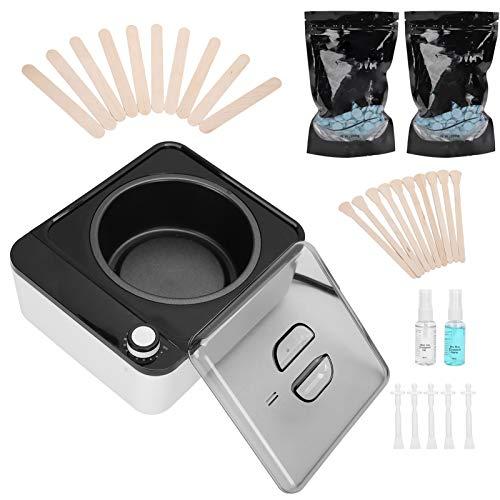 8 stks elektrische wasverwarmer voor ontharing, 500 ml professionele wax ontharingskit, 2 * 100 g verpakkingen kralen wax, spa gezicht armen oksels benen bikini(EU)