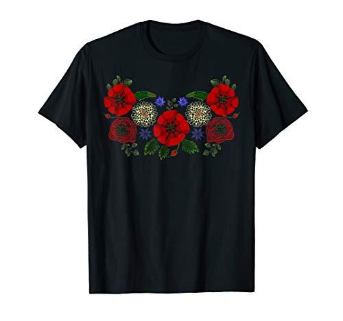 Blumenukraine-Hemd Vintage ukrainische Vyshyvanka Art T-Shirt