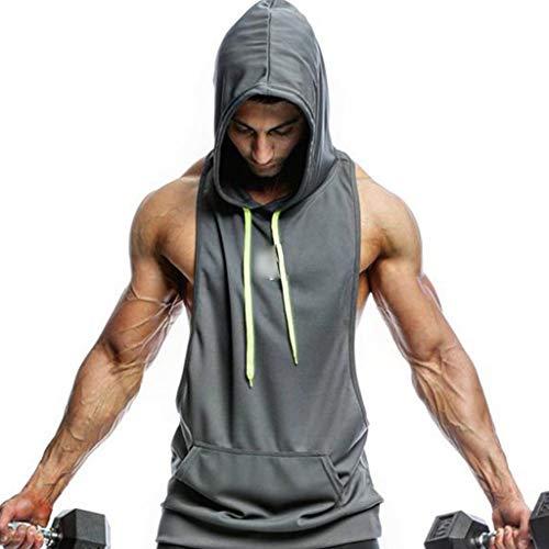 WYNZYYX - Sudadera con capucha para hombre, color puro, sin mangas, para entrenamiento, fitness, color gris, tamaño large