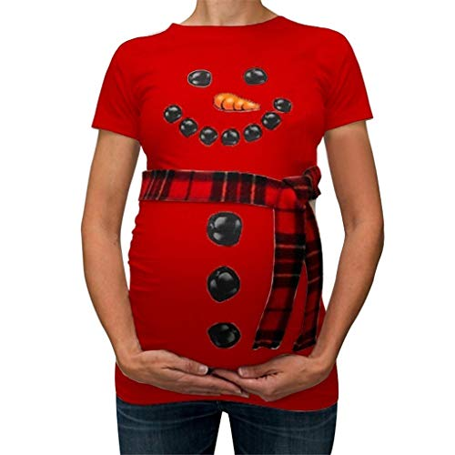 Umstandsmode Damen Kurzarm O-Ausschnitt Shirt mit Schneemann Muster Süße Weihnachten Umstandsshirt T-Shirt Oberteil Piebo Damen Schwangere Maternity Top Shirts