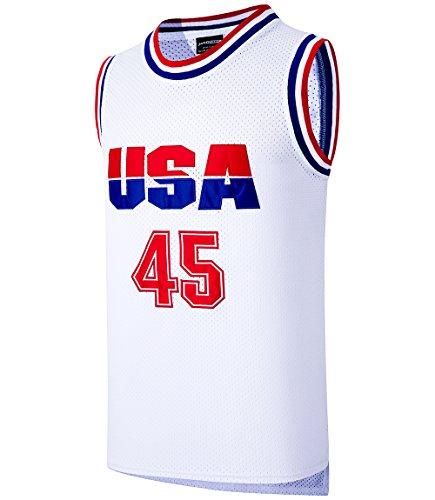 JOLI SPORT Donald Trump 45 USA Basketball Jersey White S-XXXL (XXX-Large)