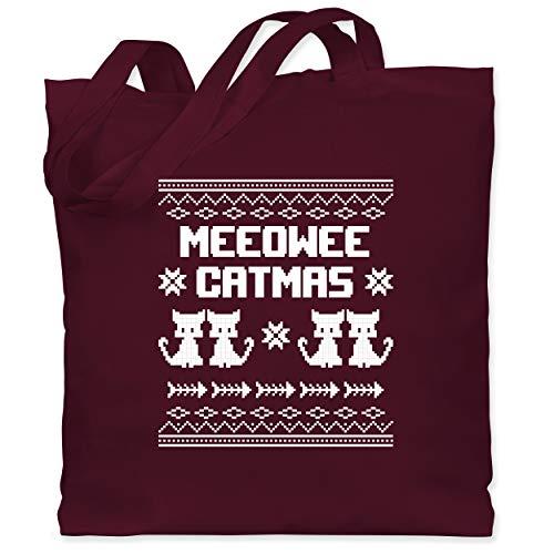 Weihnachten & Silvester - Ugly Christmas I Meeowee Catmas - Unisize - Bordeauxrot - Geschenk - WM101 - Stoffbeutel aus Baumwolle Jutebeutel lange Henkel