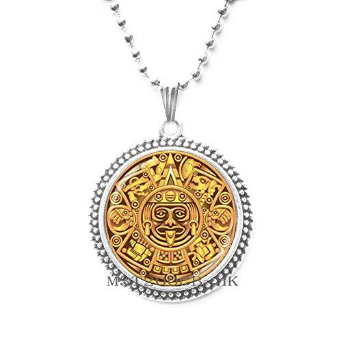 Colgante de calendario maya, joyería de calendario maya, collar de calendario azteca, colgante maya, joyería maya, colgante de cúpula de cristal, collar para hombre MT114