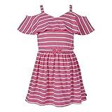Nautica Girls' Cold Shoulder Fashion Dress, Stripe Pink Lemonade, 8-10 M US