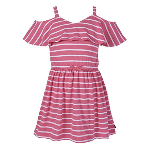 Nautica Girls' Cold Shoulder Fashion Dress, Stripe Pink Lemonade, 7 S US