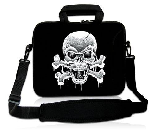 Luxburg® Design Laptoptasche Notebooktasche Sleeve mit Schultergurt & Fach für 17,3 Zoll, Motiv: Totenkopf