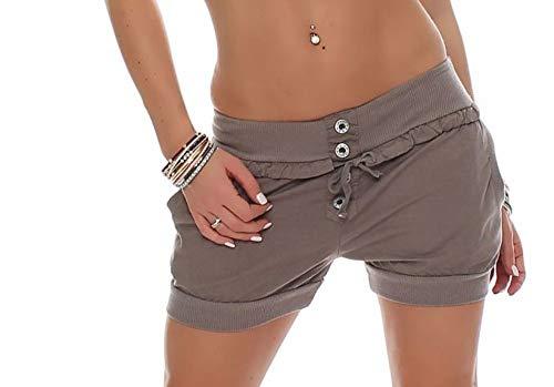Malito Damen Hotpants in Unifarben   lockere Kurze Hose   Bermuda für den Strand   Pants - Shorts - klassisch 6086 (Fango, M)