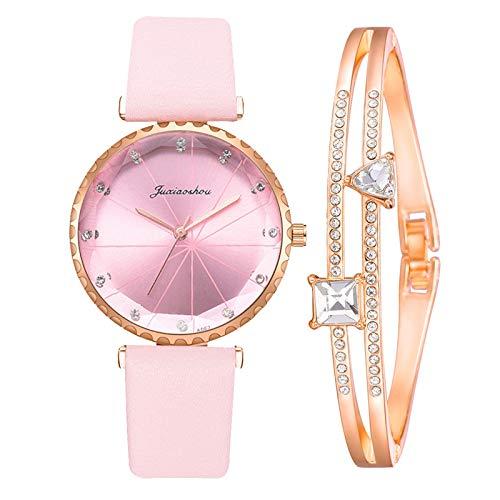 Hunpta @ Damen Armbanduhren Armband Set Analog Quarz Uhr Mode Frauen Mädchen Armbanduhr Einfarbig Strass Zifferblatt Lederarmband Legierung Uhren Weihnachten Geburtstag Kreativ Geschenk