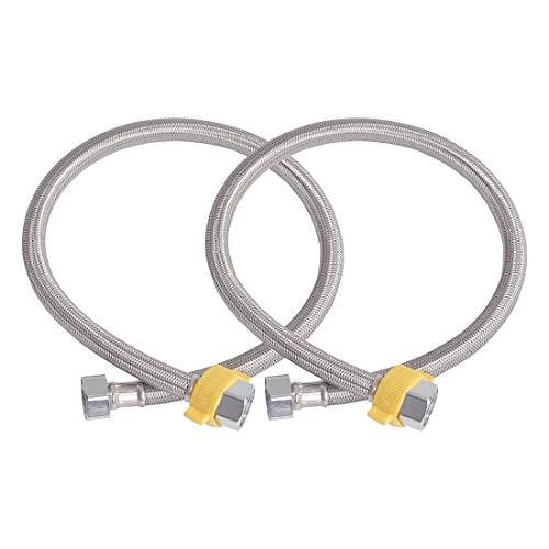 uxcell tubo exterior de acero inoxidable de 16 pulgadas para tuberías de agua fría y caliente, conector de tubería para inodoro de baño, 2 unidades