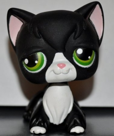 Kitten Longhair #55 (Black, Green Eyes, White Nose & Chest (Tuxedo), Cat) Littlest Pet Shop 2004 (Retired) Collector Toy - LPS Collectible Replacement Single Figure Loose (OOP Out of Package)